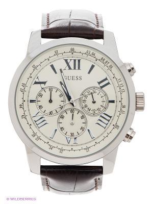 Часы GUESS. Цвет: белый, темно-коричневый, серебристый
