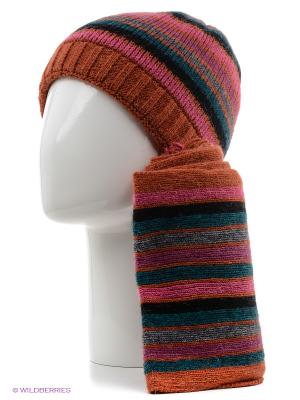 Шапка, шарф Vita pelle. Цвет: бордовый, фуксия, черный