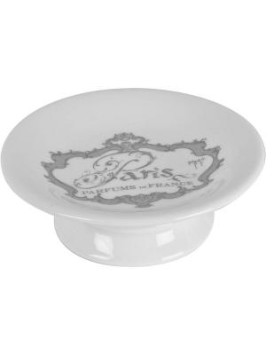 Мыльница круглая керамическая на ножке  11,5см. Mathilde M. Цвет: белый, черный