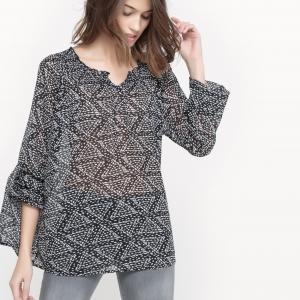 Блузка из вуали с принтом SUD EXPRESS. Цвет: черный