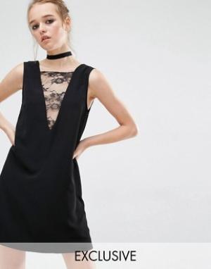 Reclaimed Vintage Платье-туника с кружевной вставкой спереди. Цвет: черный