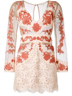 Облегающее платье с прозрачными панелями For Love And Lemons. Цвет: телесный