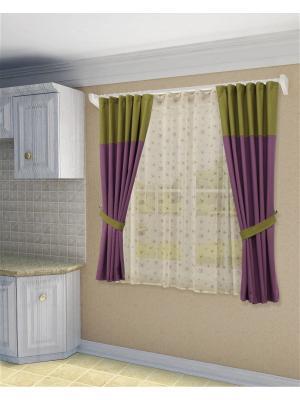 Комплект штор с тюлем SANPA HOME COLLECTION. Цвет: зеленый, сиреневый