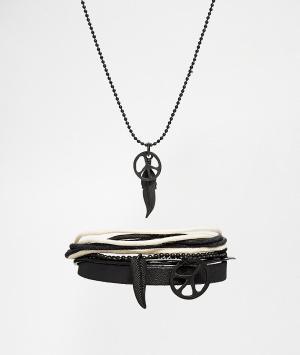ASOS Комплект из ожерелья и браслета с пацификом пером. Цвет: черный