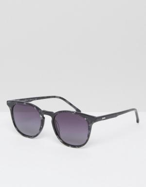 Komono Солнцезащитные очки в квадратной оправе цвета черного мрамора T. Цвет: черный