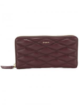 Стеганый кошелек на молнии DKNY. Цвет: красный