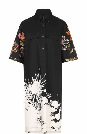 Платье-рубашка с удлиненной спинкой и яркой вышивкой Dries Van Noten. Цвет: кремовый