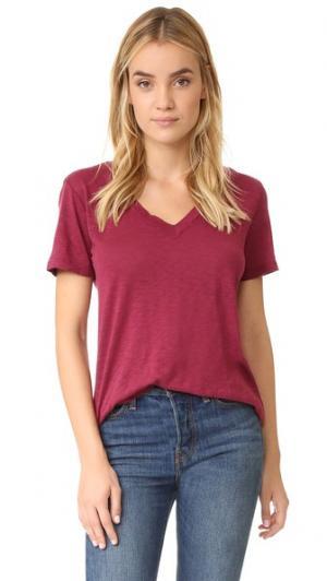 Полупрозрачная футболка с V-образным вырезом Splendid. Цвет: клюквенный