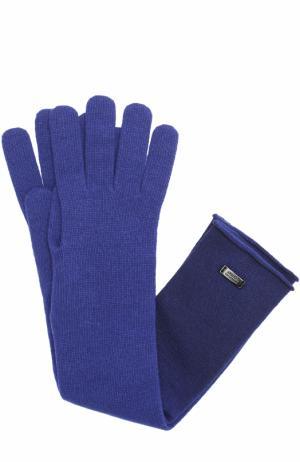 Удлиненные перчатки из шерсти и вискозы Armani Collezioni. Цвет: темно-синий