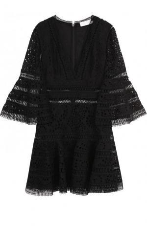 Приталенное кружевное мини-платье Zimmermann. Цвет: черный