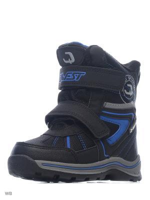 Ботинки QWEST. Цвет: черный, голубой