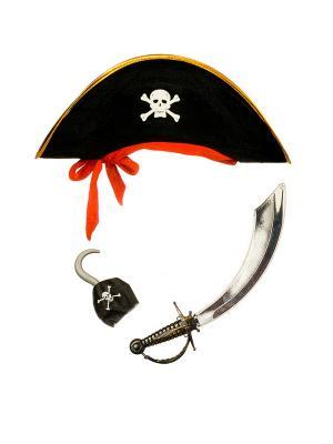 Карнавальная шляпа для мальчиков Пиратская с аксессуарами ФЕСТА. Цвет: черный, красный