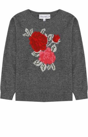 Пуловер из смеси шерсти и кашемира Simonetta. Цвет: серый