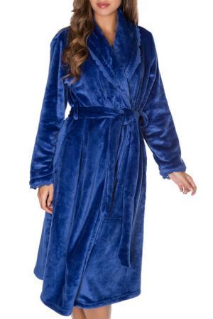 Халат теплый Rose&Petal Homewear. Цвет: темно-синий