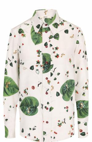 Шелковая блуза прямого кроя с принтом Bally. Цвет: белый