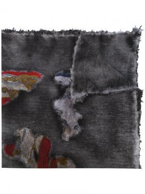Вязаный шарф с абстрактным узором Avant Toi. Цвет: серый