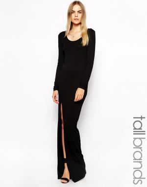 Taller Than Your Average Платье макси с длинными рукавами и высоким разрезом TTYA. Цвет: черный