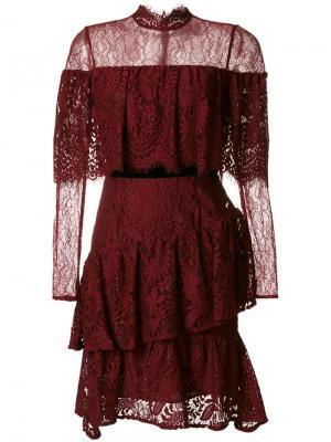 Платье с кружевными рюшами Perseverance London. Цвет: красный