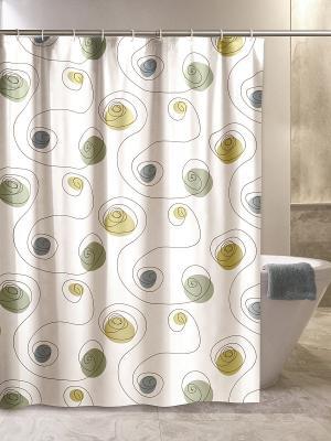 Штора для ванной комнаты 180х200 100% ПВХ IQ-SPA. Цвет: зеленый, белый