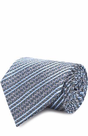 Шелковый галстук с узором Ermenegildo Zegna. Цвет: бирюзовый