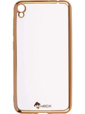 Накладка  skinBOX silicone chrome border 4People для Asus Zenfone Live (ZB501KL). Цвет: золотистый