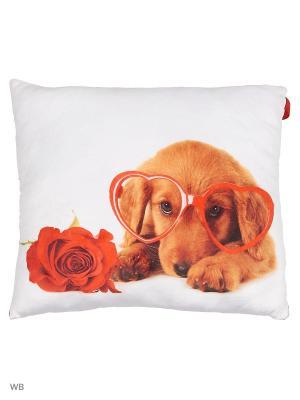 Мягкая игрушка Влюбленная собачка 30.43.1 цвет красный, белый Malvina. Цвет: белый, красный