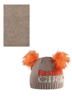 Шапка, шарф Politano. Цвет: светло-коричневый, оранжевый