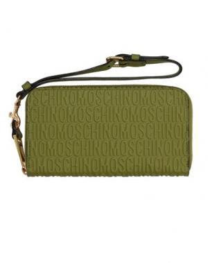 Бумажник MOSCHINO. Цвет: зеленый-милитари
