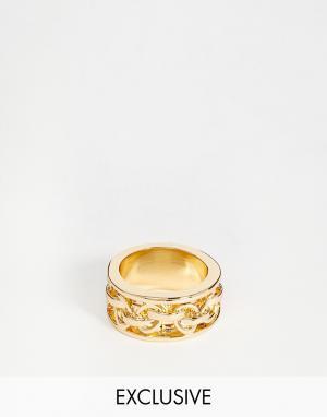 Designsix Золотистое кольцо. Цвет: золотой