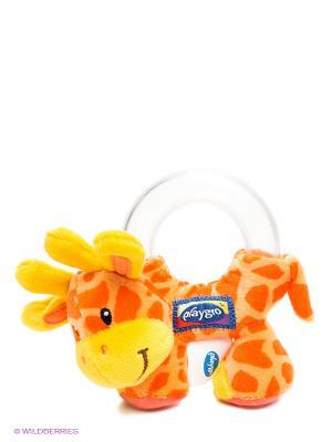 Мягкая игрушка-погремушка Жираф Playgro. Цвет: оранжевый, желтый