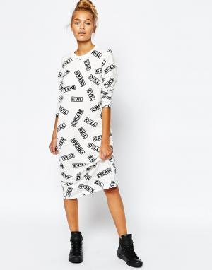 Mini Cream Кремовое облегающее платье с принтом Evil. Цвет: белый