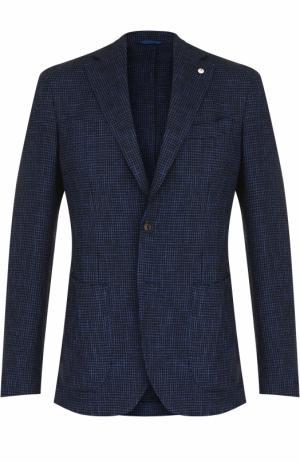 Однобортный пиджак из смеси хлопка и шерсти L.B.M. 1911. Цвет: синий