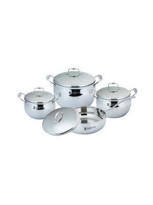 Набор посуды 2,9л/3,9л/6,5л. сковорода 3,1л RAINSTAHL. Цвет: серебристый