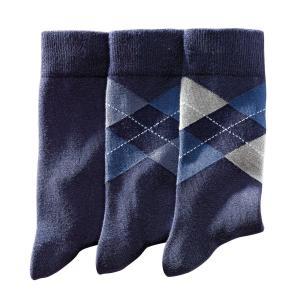 3 пары носков La Redoute Collections. Цвет: синий морской,черный