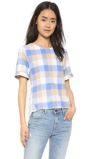 Блуза в клетку ENGLISH FACTORY. Цвет: синий комбинированный