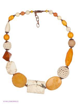 Колье Роман с камнем. Цвет: бежевый, оранжевый, коричневый