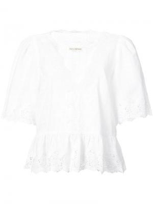 Блузка с английской вышивкой Ulla Johnson. Цвет: белый
