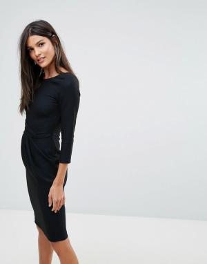 Closet London Платье с V-образным вырезом на спине и блестящей отделкой. Цвет: черный