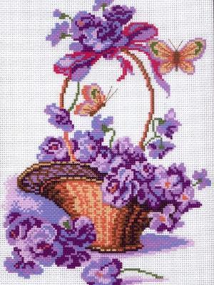 Рисунок на канве Корзинка с цветами Матренин Посад. Цвет: фиолетовый