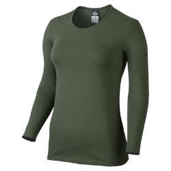 Женская спортивная футболка  Pro Warm Crew 3.0 Nike. Цвет: зеленый