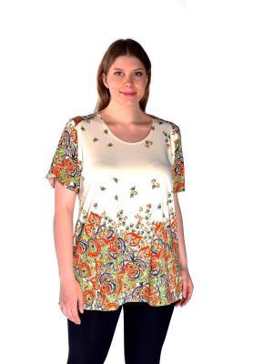 Блузка Pretty Woman. Цвет: светло-зеленый,молочный,оранжевый
