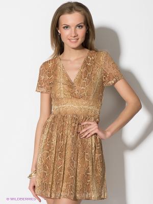 Платье TOPSANDTOPS. Цвет: желтый, коричневый