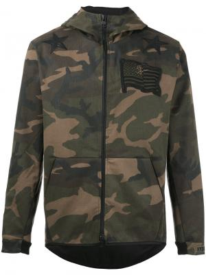 Камуфляжная куртка с капюшоном Hydrogen. Цвет: зелёный