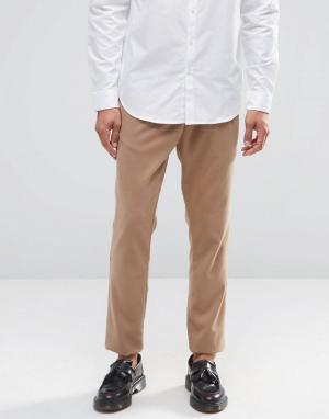 ASOS Трикотажные зауженные брюки в строгом стиле. Цвет: рыжий