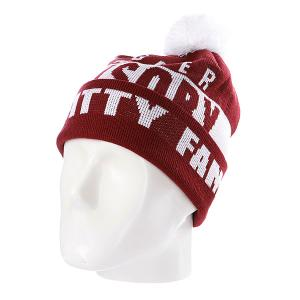 Шапка с помпоном  Swagger Fam Maroon/White Flat Fitty