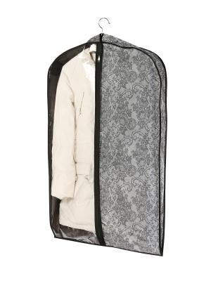 Чехол объемный для одежды большой, 60х130х10см  Ажур 218 COFRET. Цвет: серый, черный