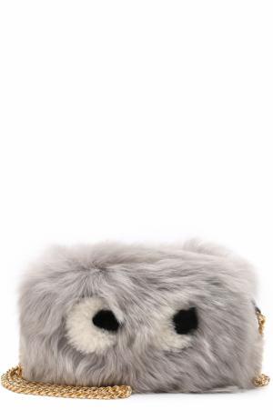 Сумка Eyes Mini из овчины Anya Hindmarch. Цвет: фиолетовый
