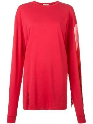 Платье-свитер с бахромой Aries. Цвет: красный