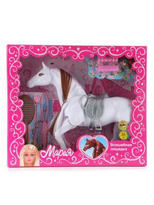 Лошадка Карапуз Мария 29см, с аксессуароми  для волос. Цвет: белый