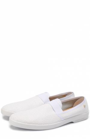 Кожаные лоферы с перфорацией Rivieras Leisure Shoes. Цвет: белый